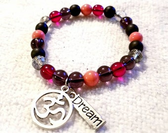 6mm Beads|Multi-Color Bracelet w/OM Charm and Dream Charm