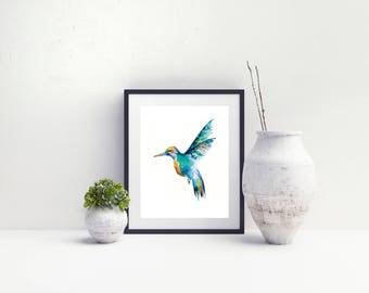 Kingfisher Watercolour Print