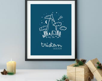 Display child's room, child's name, poster for baby, kids poster, illustration kids adventure mountain