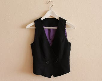 Black Vest Black Women Vest Black Women's Vest Women Steampunk Vest Fitted  Waistcoat Small Size