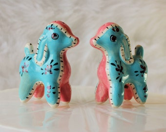 Vintage Lamb Salt and Pepper Shakers, Blue and Pink, Stitched Look, Japan