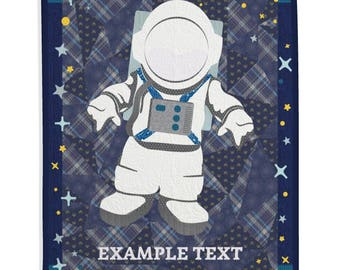 Space Quilt, Themed Quilt, Boy Quilt, Girl Quilt, Kid's Room Custom Quilt, Personalized Gift - Astronaut Quilt