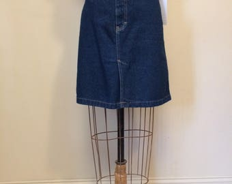 """CK Denim Skirt   80-90's Dark Denim Flat Front Pleat Front CK Skirt Waist 33""""   Size Small Medium 6 7 8 9   Made in the USA"""