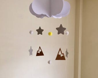 Baby Mobile - Mountain Baby Mobile, Star Mobile, Hanging Baby Mobile, Nursery Mobile, 3D Paper Mobile