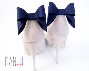 Navy blue bows - shoe clips Manuu,  bow shoe clips, shoe bows, Schuhclips