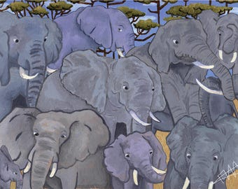 A Family Reunion - African Elephant print in A4 or 6 x 4
