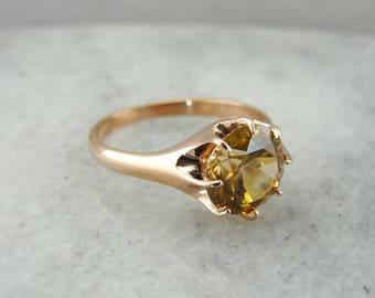 Striking Golden Zircon in The Woodman Rose Gold Setting from The Elizabeth Henry Collection 37R5PP-P