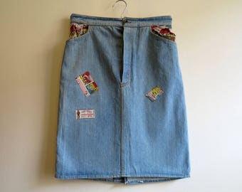 Vintage Light Blue Skirts Denim Skirts Pencil Jeans Skirts Denim Knee Skirts High Waisted Skirts Extra Small Size