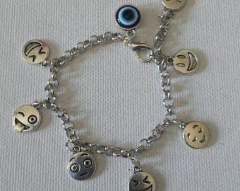 Emoji charms bracelet, Evil eye charm popular for little girls and boys