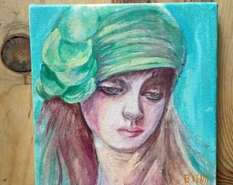 Painting portrait woman 20 x 20 cm
