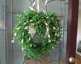 Boxwood Wreath-Heart Boxwood Wreath-Boxwood Heart-Heart Wreath-Summer Wreath-Year Round Wreath-Farmhouse Wreath-Window Wreath-Rustic Wreath