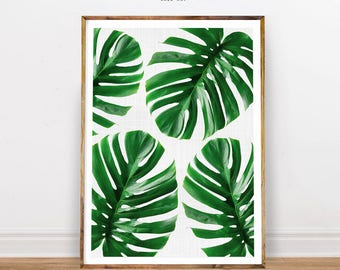 Monstera Leaf Print, Tropical Print, Gorgeous Monstera, Tropical Leaf Print, Beach Style Print, Tropical Poster, Instant Download, Printable