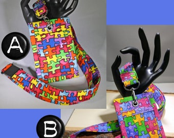 Made to order. Lanyard & Matching ID Badge Holder. Colorful puzzle pieces. Autism Awareness Fabric. Optional break away buckle.