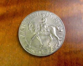 1977 Queen Elizabeth II silver jubilee coin