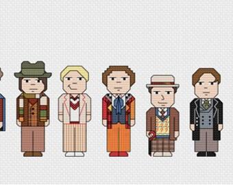 Doctor Who Cross Stitch PDF Pattern - all the doctors like Sylvester McCoy, Tom Baker, David Tennant, Matt Smith, Peter Capaldi & the Tardis