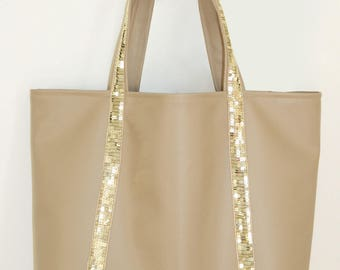 Large tote bag in faux Tan Leather and gold glitter band