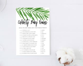 Baby Shower Games, Celebrity Baby Names, Baby Shower game, Celebrity Baby Match, Baby shower games, Printable, Tropical, INSTANT DOWNLOAD