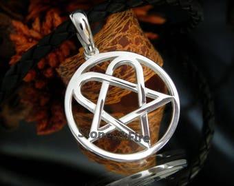 Heartagram jewelry etsy him heartagram star heart silver pendanthim band pendantlove metalheartgram gothichandcrafted sterling silver aloadofball Choice Image