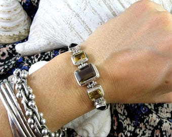 elegant smoky quartz citrine garnet bracelet set in 925 sterling silver and double byzantine chain 17-18cm