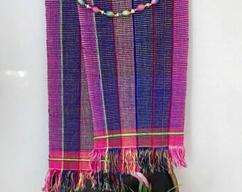 Vintage HANDWOVEN Bolivian Peruvian Textile / Aztec Tablecloth / Bohemian Folk Art Table Runner