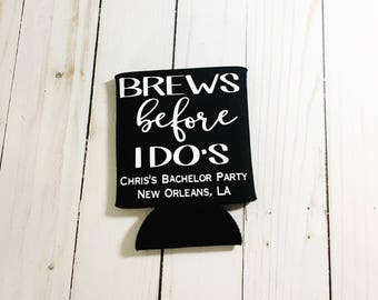 Bachelor Party Can Cooler, Bachelor Party, Destination Wedding, Brews Before I Dos,  Bachelor Party Gift, Bachelor Party Favor, Party Favor