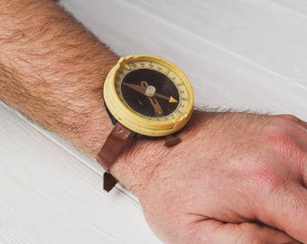 Compass vintage Wrist compass Traveler accessories Surveyor gift Leather strap Soviet army compass Travel gifts kids accessories for boy