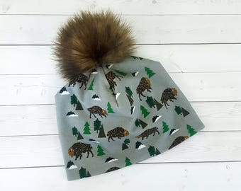 Fur Pom Pom Hat, Bison, Buffalo NY, Slouchy Beanie, Toddler Slouchy Beanie, Slouchy Beanie Baby, Faux Fur Pom Pom, Kids Beanie, Women Beanie