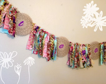 Shabby Chic, Rag Tie Tea Party, Bridal Shower, Summer, Spring, High Tea, Easter, Mother's Day Floral Fabric Garland Banner, Photo Prop