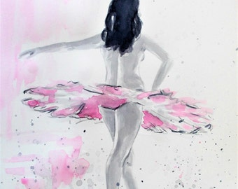 Original ballerina painting,ballerina watercolor painting,ballet painting,ballet watercolor,ballerina dancing,pink and grey ballerina,ballet
