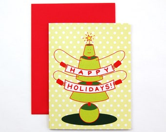 Happy Holiday Robot Card | cute happy holidays christmas card | robot holiday