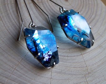 Cast Glass Silver Gemstone Drop Earrings
