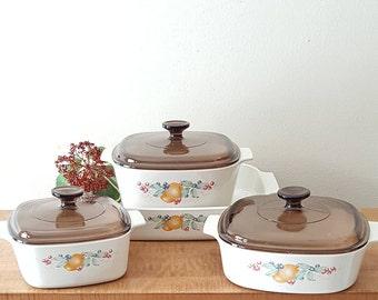 Corning Ware Abundance Set of 4 Casseroles + 3 Brown Pyrex Lids Corelle Abundance Dinnerware