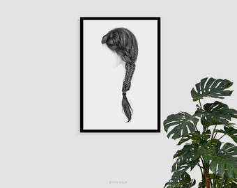 Side braid print, Printable wall art, Black and White, Pencil drawing, Art print, Fine art prints, Printable artwork, Modern Wall decor,