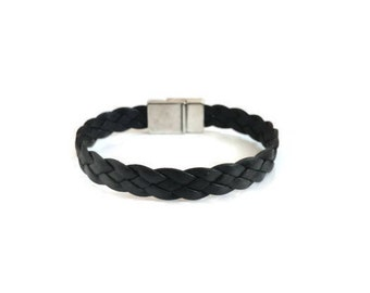 Leather Bracelet, Braided Leather Bracelet, Dark Brown leather, Magnetic Closure, Gift, Genuine Leather, Leather Jewelry, Bracelets
