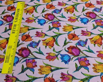 Butterflies Are Free-Tulips on Pink Cotton Fabric Designed by Ro Gregg for Paintbrush Studios
