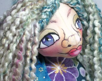 Fairy OOAK Cloth Art Doll,  Blue Sprite Soft Sculpture, Pixie Shelf Sitter, JDCreativeDolls