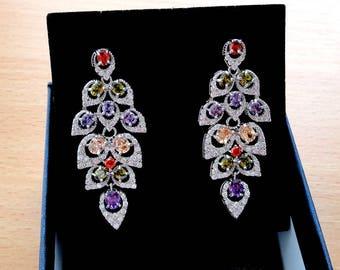 Vintage wedding earrings jewelry long stud rhinestone bohemian earrings bridal crystal chandelier earrings bridesmaid leaf leaves earrings