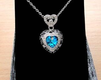 Blue Heart necklace Swarovski crystal necklace Crystal jewelry Swarovski necklace Silver heart pendant necklace Heart jewelry, Swarovski, jm