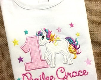 Birthday Pony Shirt / Rainbow Pony Applique Shirt / Rainbow Horse / Girl Pony / Horse Birthday / Personalized Horse Shirt / Pony Birthday