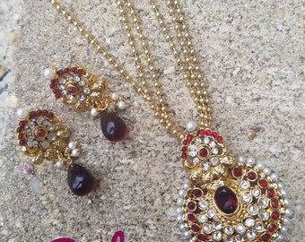 South Indian jewelry, Indian  necklace Set, Polki pendant set, temple jewelry, Temple jewelry, Bollywood Jewelry, Indian Bridal  Jewelry.