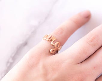 Rose Gold Name Ring, Custom Name Ring, Your Name Jewelry, Rose Gold, Family Name Ring, Sentimental Christmas Gifts, Meaningful, Margaret
