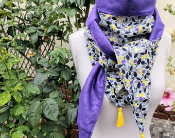 Cotton triangle scarf, gray, purple and yellow liberty