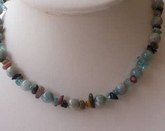 AQUAMARINE and TOURMALINE - Choker necklace.
