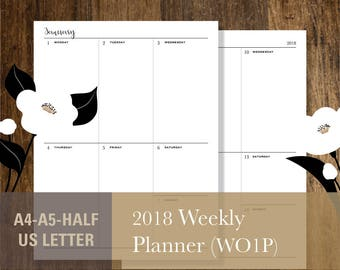 2018 Weekly Planner, PRINTABLE Letter A4 Half-Letter A5 Week on one pages Weekly calendar template WO1P (#029)