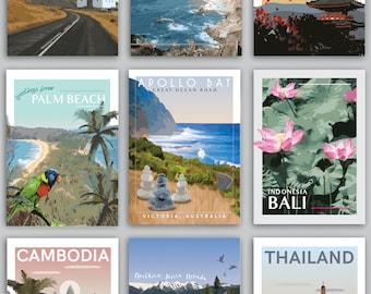 9 Vintage Travel Posters Set
