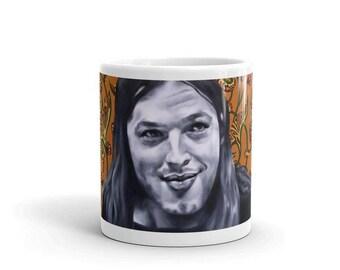 David Gilmour Mug, Pink Floyd Mug, Coffee Mug, Musician Mug, Pop Art, Ceramic Mug, 11 oz mug, Pink Floyd Art, David Gilmour, 60s, Art Mug