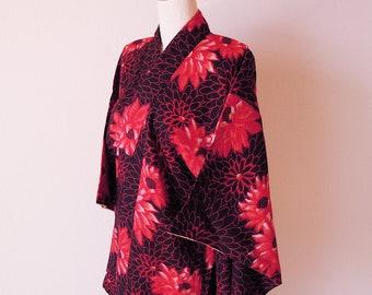 1950's Antique Japanese Kimono/Silk Robe/Japanese Robe/Black Color
