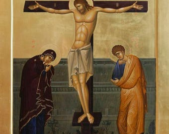 Crucifixion of the Lord Byzantine orthodox icon egg tempera