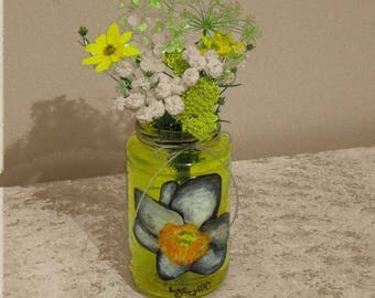Daffodils Vase Glass Jonquil Yellow Flower
