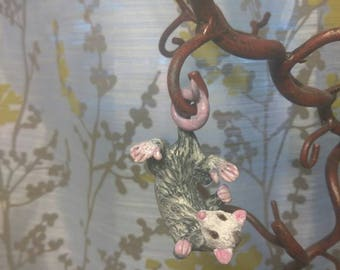 Hanging possum, opossum,adorable polymer clay pendant, necklace, charm, keychain